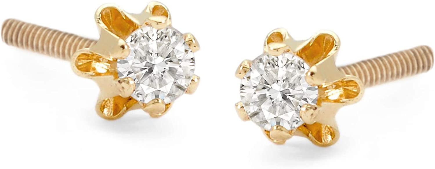 Ross-Simons Child's Diamond Accent store Stud in Rapid rise Yellow 14kt Earrings