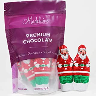 Madelaine Solid Premium Milk Chocolate 3/4 oz. Santa's Wrapped In Italian Foil, Featuring Assorted Christmas Themed Designs. 1/2 LB