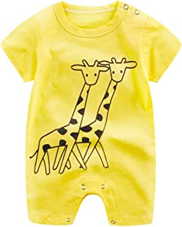 Minisoya Baby Boy Girl Newborn Infant Cartoon Romper Playsuit Fashion Cute Short Sleeve Jumpsuit Climbing Clothes