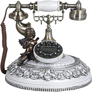 Classic Old-Fashioned Telephone, Resin Button Dialing Retro Home Fixed Telephone Landline Decoration Retro Landline
