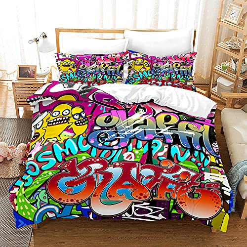 Bedclothes-Blanket Juego de sabanas Cama 150,SANDET Patrón de Tendencia de la Calle Hip Hop de Tres Piezas 3D-7_150 * 200 cm