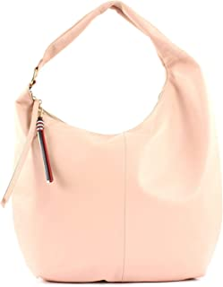 Tommy Hilfiger Womens Soft Leather Hobo Fashion Tote Bag, Color Beige