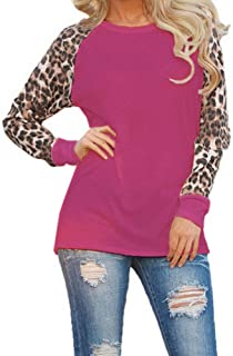 Women Long Sleeve Blouses Round Neck Leopard Print Shirts Fashion Ladies Casual Loose Plus Size Tops