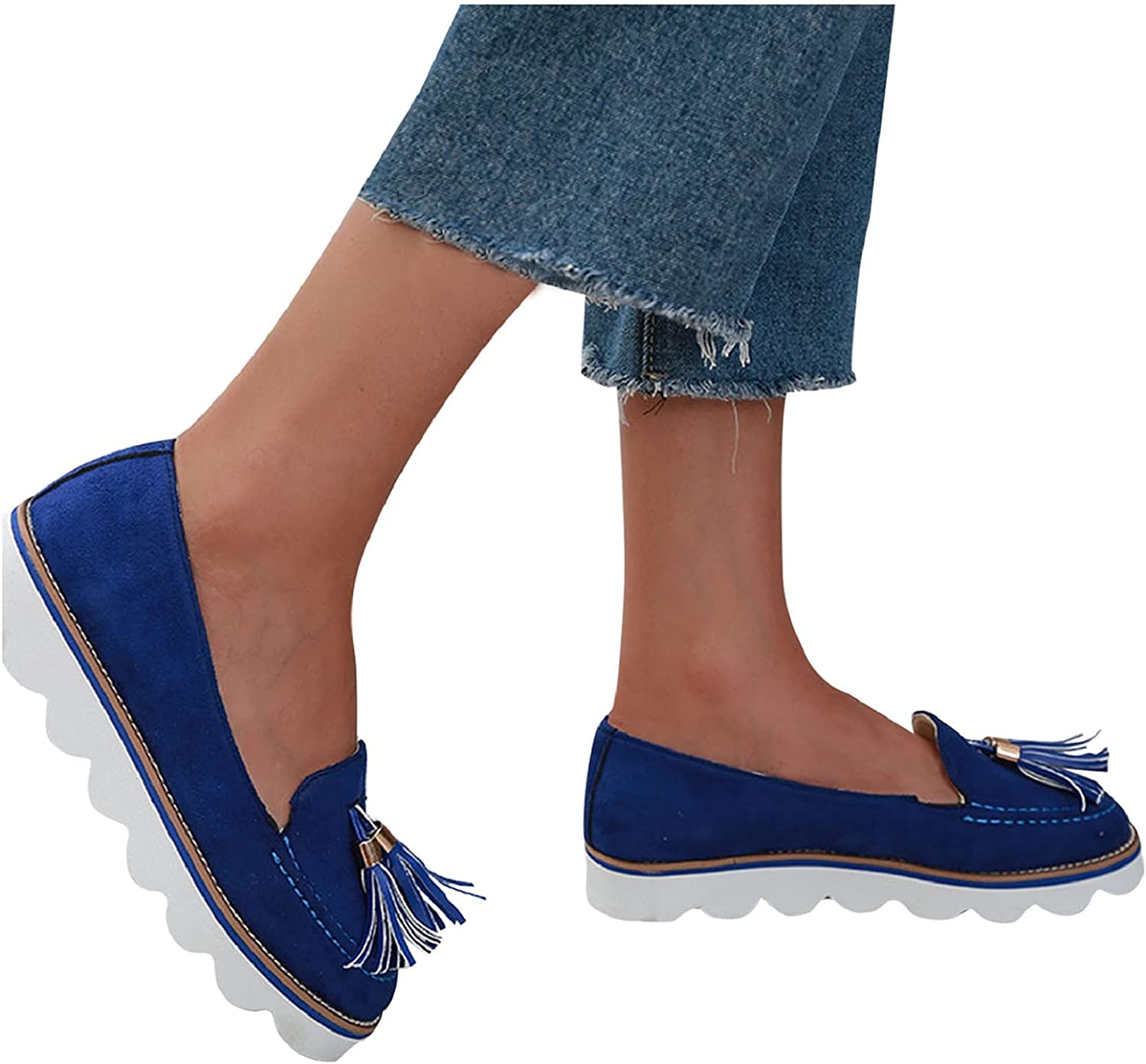 Fringed Slip On Loafers Shoes for Women, Suede Round Toe Platform Tassel Loafers Girl Casual Driving Walking Casual Boat Shoes