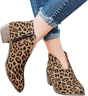 460af63d2edf9 Womens Ruffled Ankle Booties Chunky Low Heel Cut Out Slip-on Pointed Toe  Western Shoes