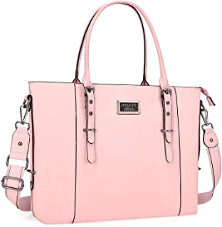 MOSISO PU Leather Laptop Tote Bag for Women (Up to 15.6 inch), Rose Quartz