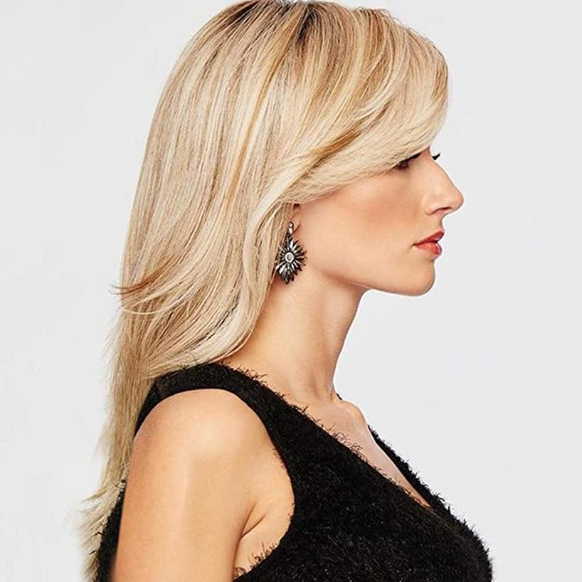慰め動脈ショルダーZXF 女性かつらヨーロッパとアメリカのグラデーションゴールドロングカーリーヘアセット 美しい