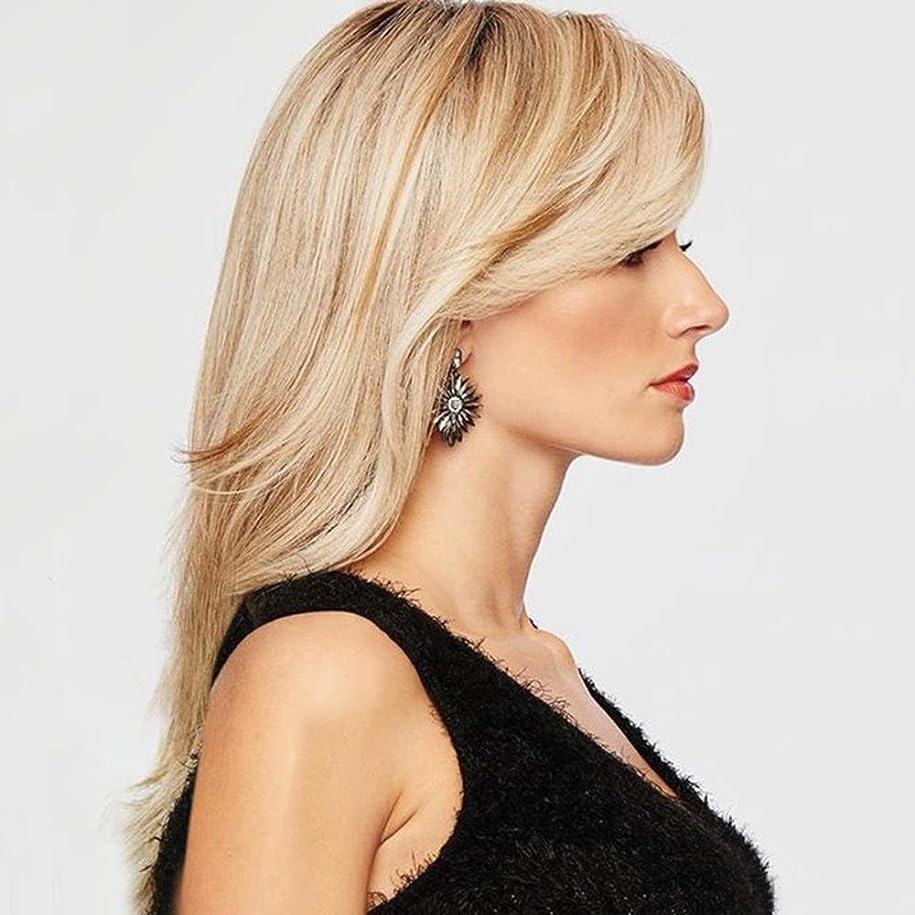 明確な歌詞高めるZXF 女性かつらヨーロッパとアメリカのグラデーションゴールドロングカーリーヘアセット 美しい