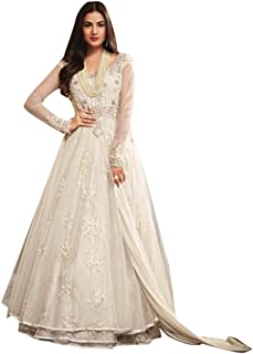 Pure White Christian Wedding Designer Indian Gown style Net Anarkali Suit Ceremony wear Women dress J7BD