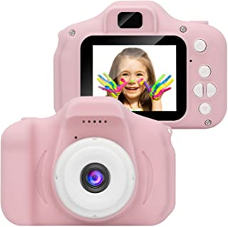 Leoie Kids Digital Video Camera Mini Rechargeable Children Camera Shockproof 8MP HD Toddler Cameras Child Camcorder Pink