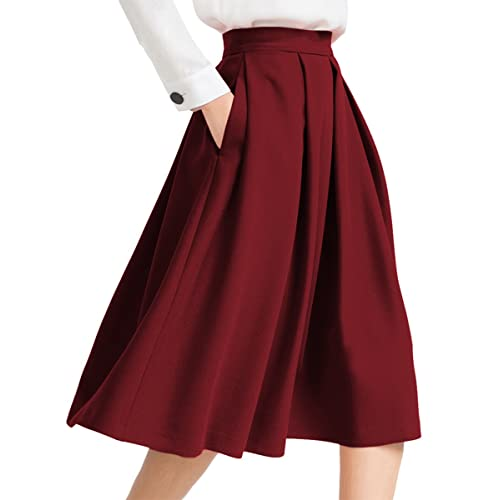 9b94ce047a3f Yige Women s High Waist Flared Skirt Pleated Midi Skirt with Pocket