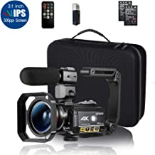 ORDRO HDR-AC3 Video Camera Ultra HD 4k Camcorder with Microphone,1080P 60fps, Digital Zoom, 3.1