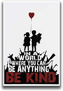 JSC268 Be Kind Banksy Poster | 18-Inches By 12-Inches | Premium 100lb Gloss Poster Paper