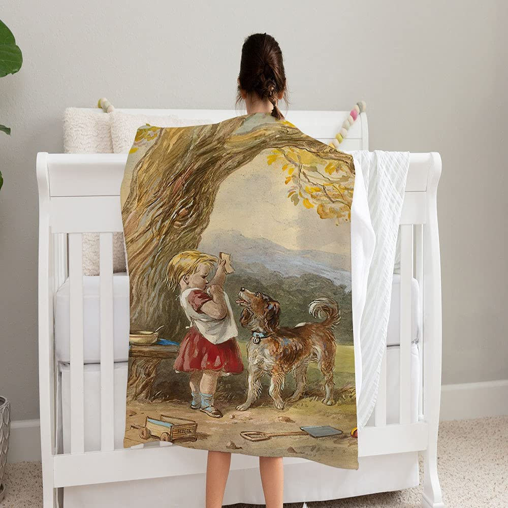 Little Girl Max 79% OFF and Dog Super Soft Fleece Shipping included Perfect Blanket f Cozy