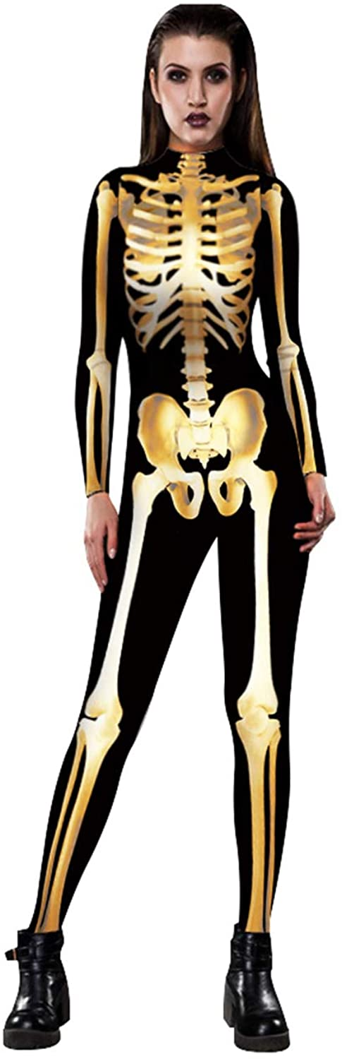 Xi Yin We OFFer at cheap prices Women Halloween Skeleton Scary Costume wholesale Jumpsuit Bodysuit