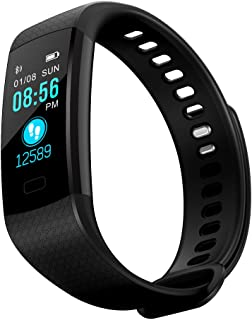 JinJin Bluetooth Smart Watch, Health Fitness Tracker Smartwatch Heart Rate Monitor Blood Pressure Activity Watch, Accurately track your steps, distance, calories burnt (black)