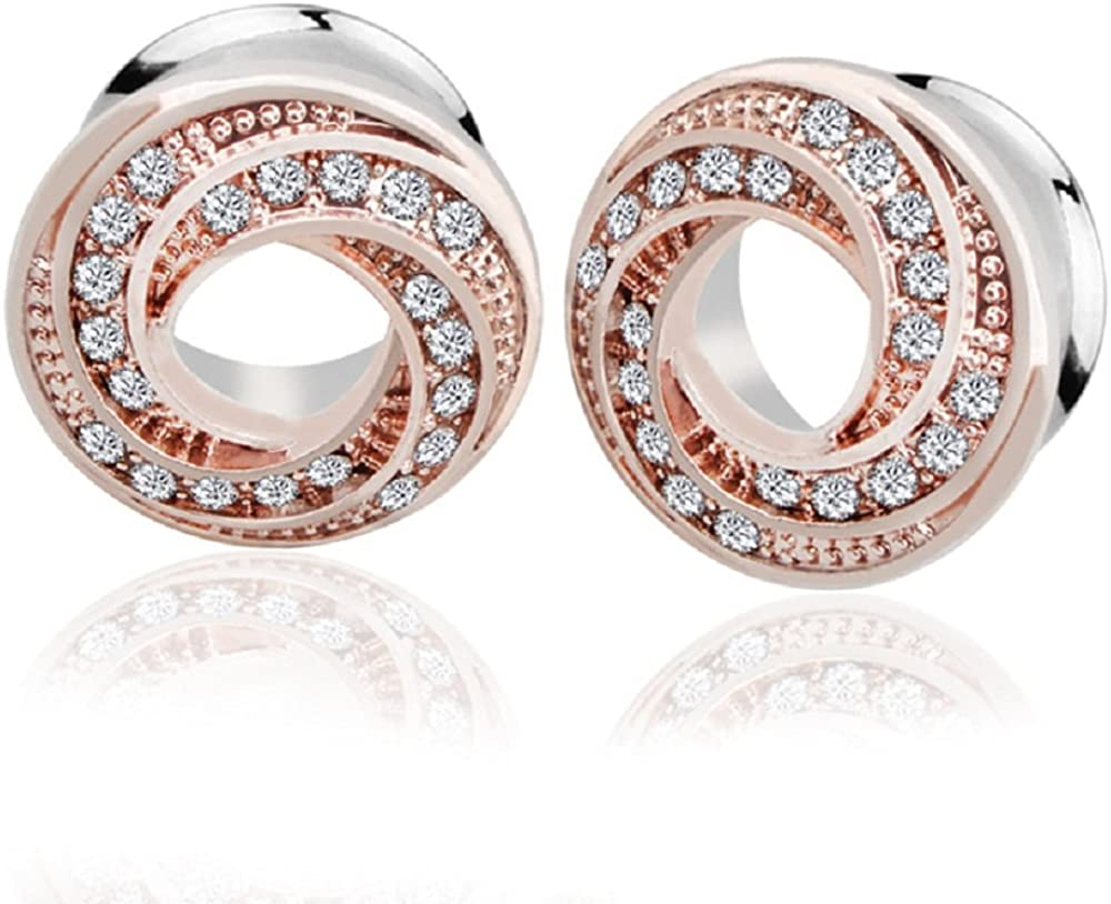 10mm White Acrylic Double-Flared stretched ear jewellery Glitter ear gauges  tunnels  plugs 0g 00g 8mm 12mm Rose gold glitter