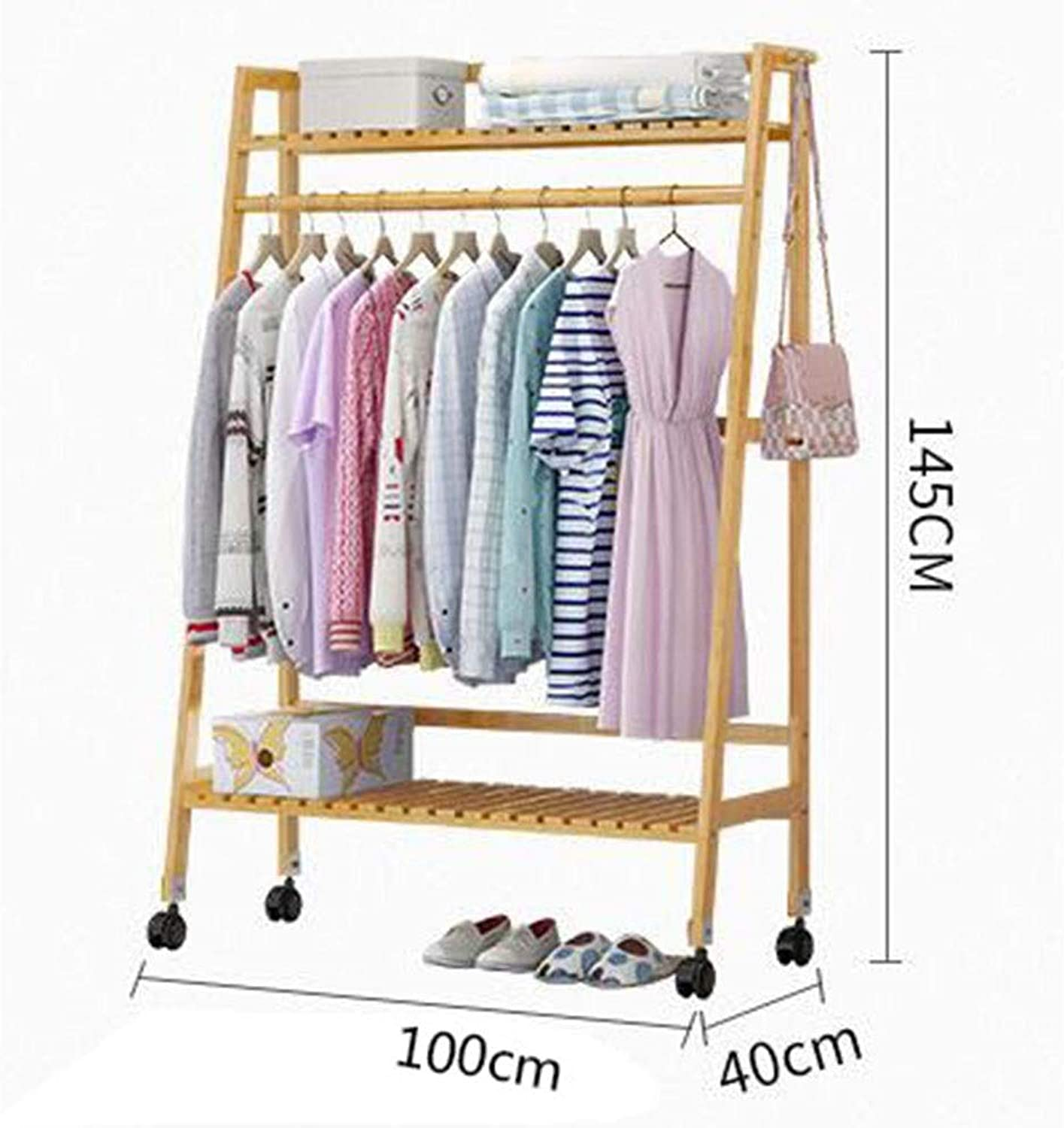 JIAYING Garment Rolling Rack,Bamboo Garment Coat Clothes Hanging Heavy Duty Rack with top Shelf and 1-Tier shoes Clothing Storage Organizer Shelves (Size   100×40×145CM)