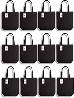 Lily Queen Cotton Canvas Tote Bag Durable Canvas Shopping Bags Reusable Grocery Gift Bags Washable with Flat Bottom (Black - 12 Pack)