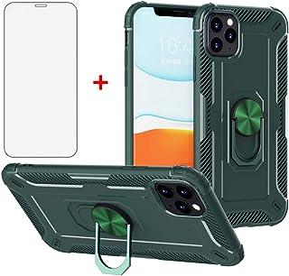 Asuwish iPhone 11 Pro ケース +【1枚強化ガラス】 保護フィルム リング付き スタンド機能 iphoneイレブンプロケース アイホン11プロケース アイホン11proケース 11pro アイホン11proケース イホン11 proケース アイホン11プロケース iphoneイレブンプロケース いphone11 iphone11pro 11proケース カバー -グリーン