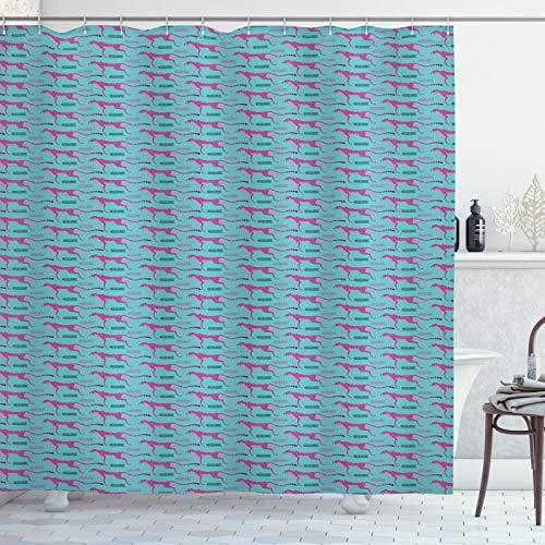 ABAKUHAUS Leopard Duschvorhang, Laufende Geparden und Motive, Moderner Digitaldruck mit 12 Haken auf Stoff Wasser und Bakterie Resistent, 175x240 cm, Türkis Rosa