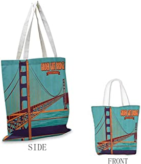 Tote bag Vintage Poster of Golden Gate Bridge in California USA Landmark Retro Art Canvas zipper Turquoise Dark Purple Orange
