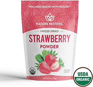 Nature Restore USDA Certified Organic Freeze Dried Strawberry Powder, 8 Ounces, New & Improved Process, No Clumping