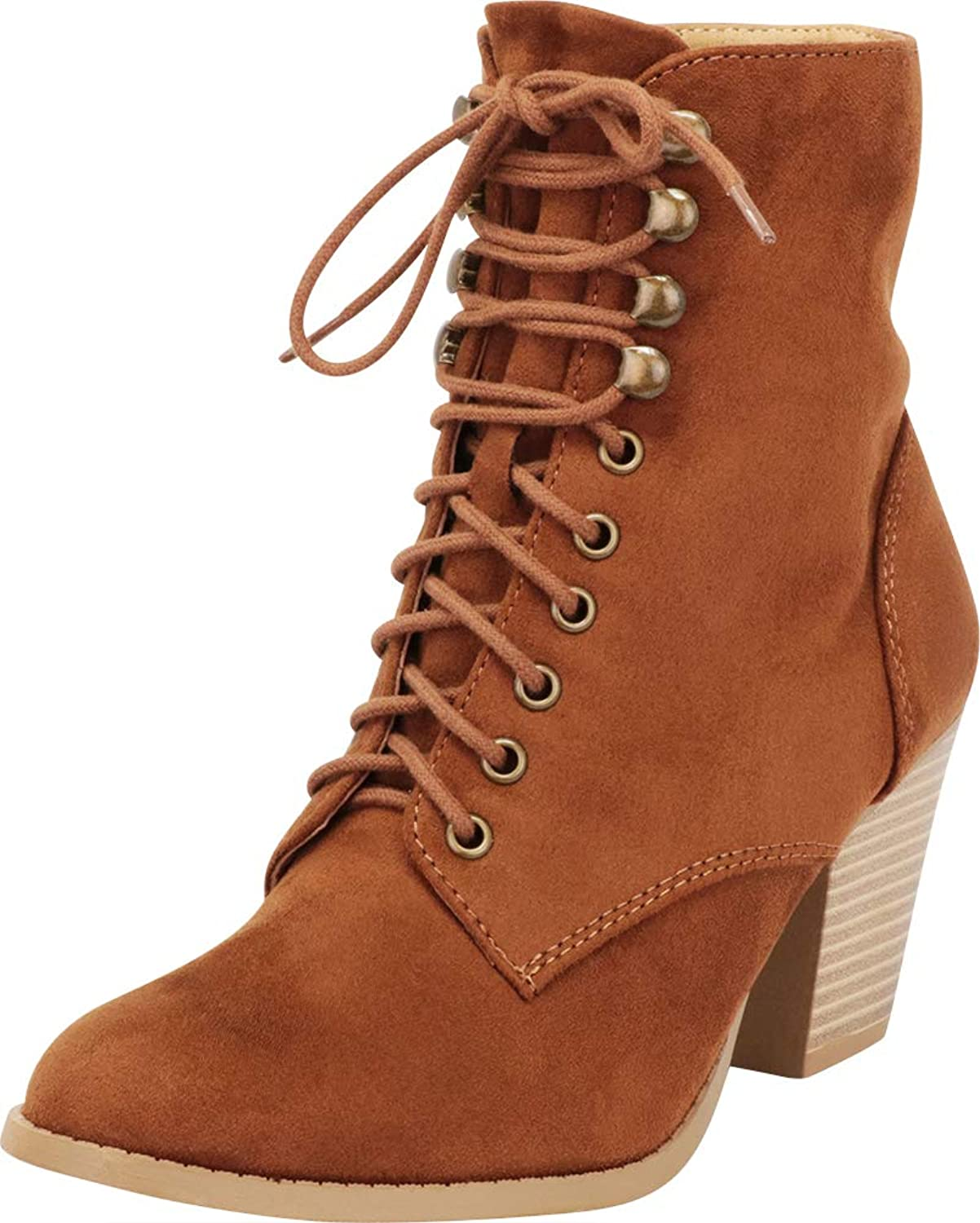 Cambridge Select Women's Closed Toe Victorian Steampunk Lace-Up Chunky Stacked Heel Ankle Bootie