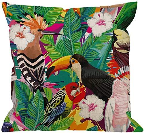Fundas de Almohada de Loro Decorativas con Hojas de tucán de pájaro Tropical y Flores de Hibisco Funda de Almohada Cuadrada Suave para Hombres/Mujeres/Verde Rojo Amarillo