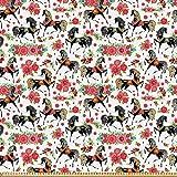 ABAKUHAUS Pferde Stoff als Meterware, Abstract Floral