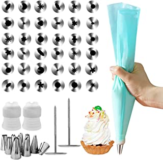 JJYHEHOT 41Pcs Cake Tips for Decorating Tool Set, Include 36 Icing Tips, 1 Silicone Pastry Bags, 2 Flower Nails, 2 Reusable Plastic Couplers, Baking Complete Decorating Set