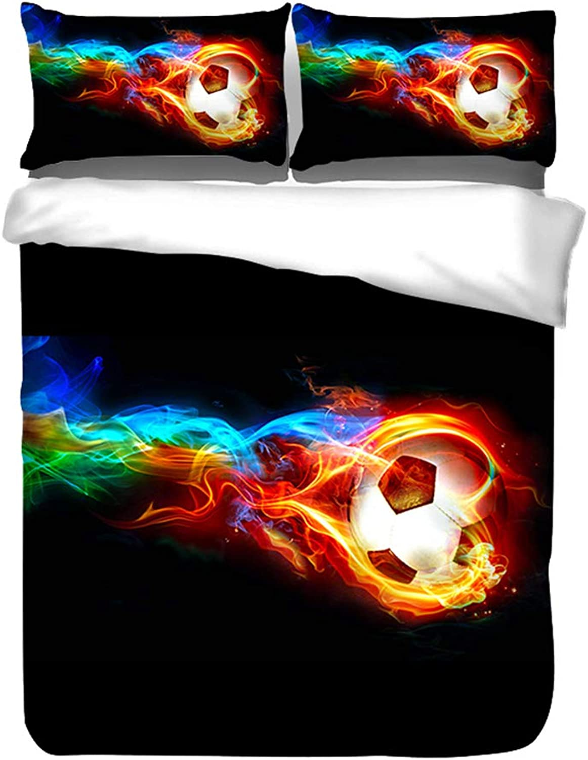 3D Fire Soccer Teen Bedding Sets Boys Sports Sports Sports Full