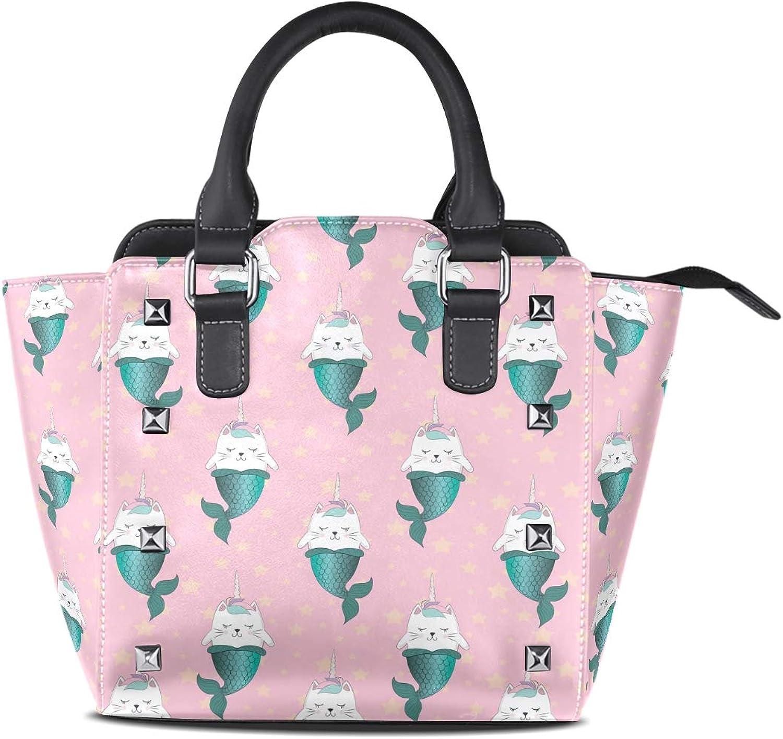 My Little Nest Women's Top Handle Satchel Handbag Cartoon Cat Unicorn Mermaids Ladies PU Leather Shoulder Bag Crossbody Bag