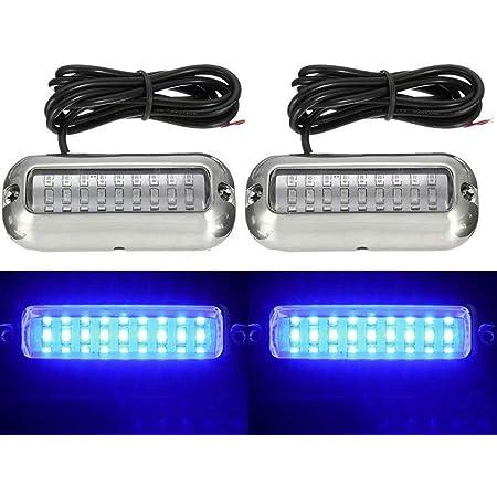 2pcs Blue LED Underwater Light Pontoon Marine//Boat Transom Lamp High Intensity