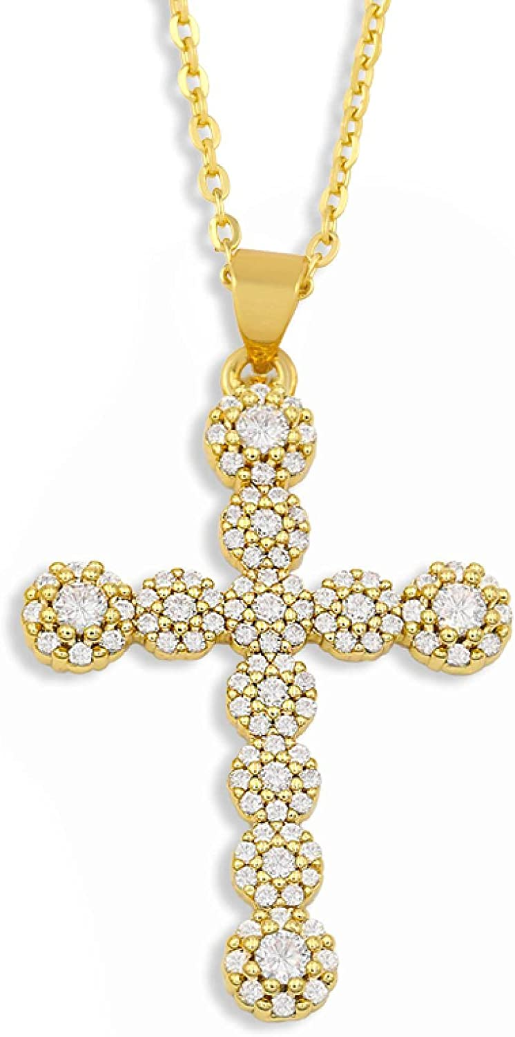 White Stone Cross Necklace For Women Crystal Pendant Necklace Collar Bling Gold Plated Jewelry