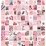 Artivo Pink Aesthetic Wall Collage Kit, 100 Set 4x6 inch, Room Decor for Teen Girls, Pretty Blush Pink Wall Art Print, Dorm Photo Collection, Small Posters for Room Aesthetic