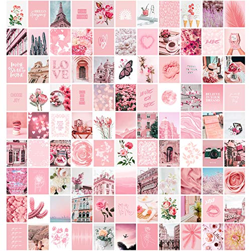 Artivo Pink Aesthetic Wall Collage Kit, 100 Set 10,2 x 15,2 cm, Raumdekoration für Teenager-Mädchen, Pretty Blush Pink Wall Art Print, Dorm Photo Collection, Small Poster for Room Aesthetic