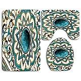 Azulejos de Mosaico de diseño Morisco Alfombra de baño Juego de 3 Piezas Alfombrilla de baño Alfombrilla para Tapa de Inodoro Decoración de baño para el hogar Antideslizante en Forma de U