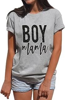 Women Summer Simple Style Short Sleeve Letter Print Boy Mama Grey Loose Plus Size T-Shirt