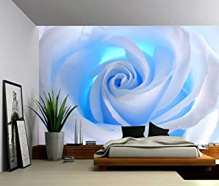 Picture Sensations Canvas Texture Wall Mural, Blue Rose Flower, Self-adhesive Vinyl Wallpaper, Peel & Stick Fabric Wall Decal - 48x36