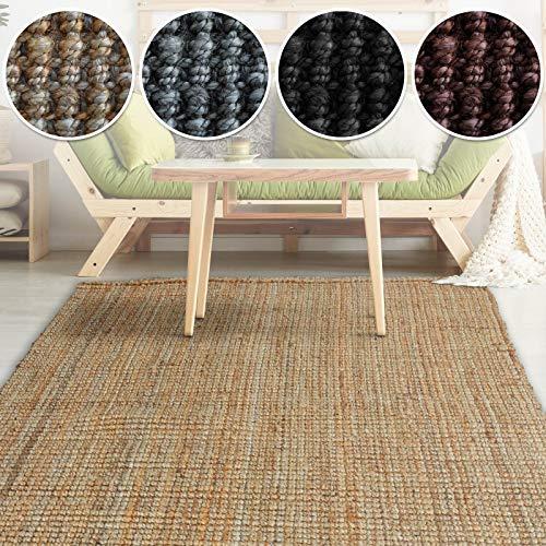 casa pura Jute Teppich Webteppich aus Naturfaser | Moderner Juteteppich | Natürliche Sisal Optik für Wohnzimmer, Esszimmer und Flur | Große Auswahl | Natur - 200x290 cm