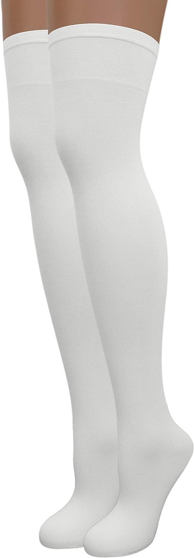 EMEM Apparel Women's Opaque Stretchy Nylon Over-The-Knee Thigh High Stockings, 2-Pairs