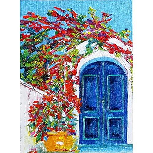 Whinop DIY Pintura por NúMeros para NúMeros para Adultos NiñOs para NiñOs Flores Puertas, Lonaje Dibujo De SolucióN De SolucióN, Figura Pintura Al ÓLeo Pintada A Mano para NiñOs DecoracióN para NiñOs