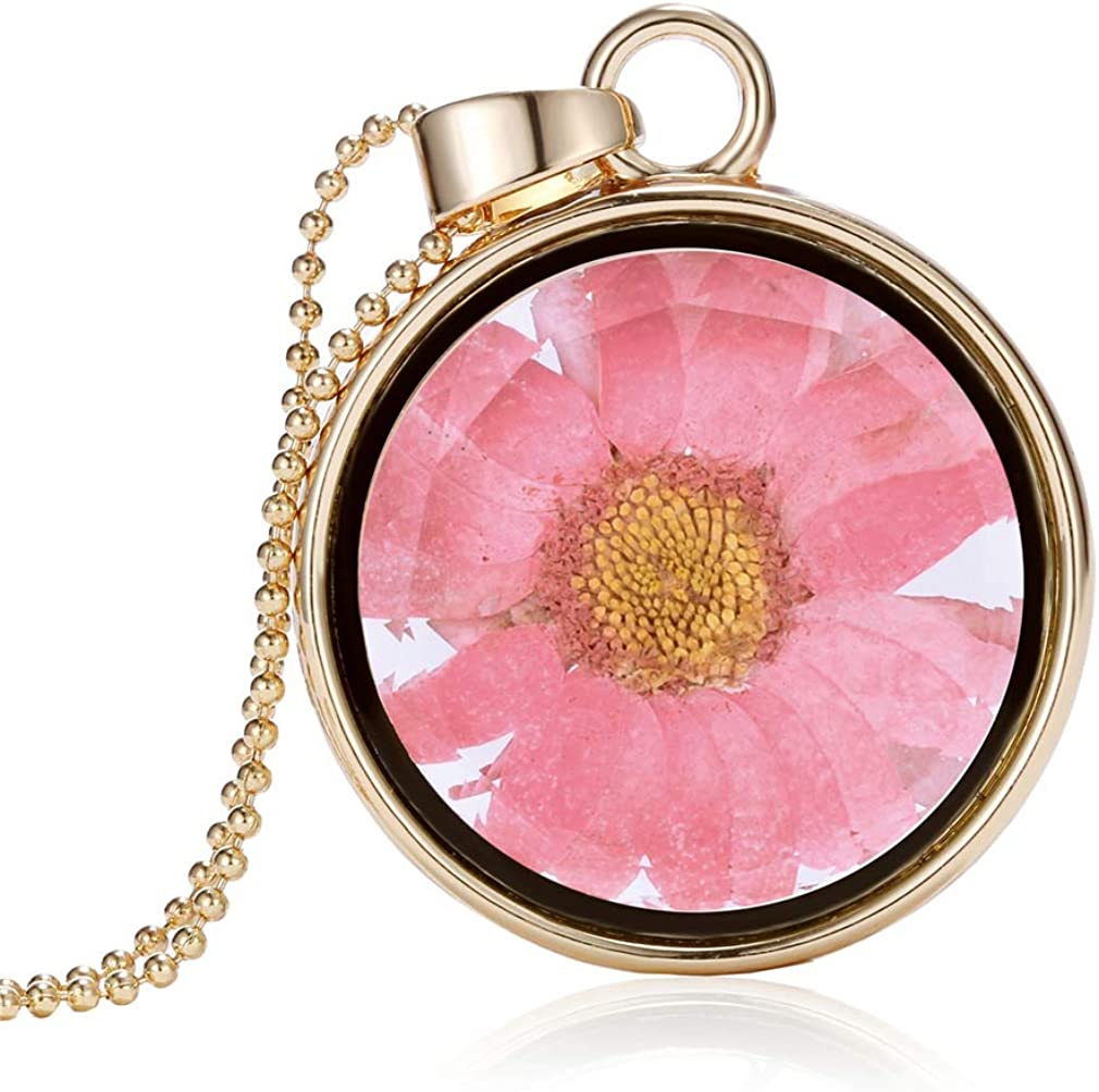 YAZILIND DIY Dried Flower Necklace Pressed Sunflower Round Lockets Glass Pendant Women Girls Chain Necklaces Birthday Jewelry Gift