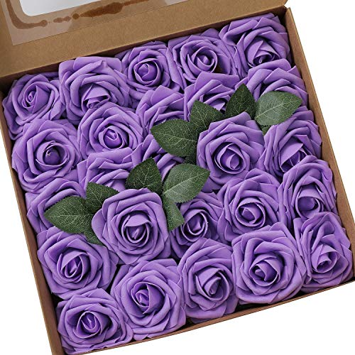 Ksnrang Künstliche Rosen Blumen Schaumrosen Foamrosen Kunstblumen Rosenköpfe Gefälschte Kunstrose Rose DIY Hochzeit Blumensträuße Braut Zuhause Dekoration (25 Stück, Lila)