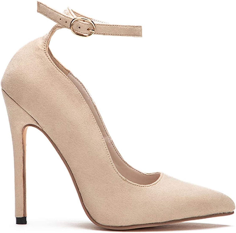 HANBINGPO Women Pointed Toe Flock Pumps Curve Super High 12 cm Party Buckle Strap Vintage shoes