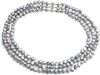TreasureBay FAB Three-Strand Chunky Modern Twist Cultured Freshwater Baroque Pearl Necklace with a Sliding Silver Clasp