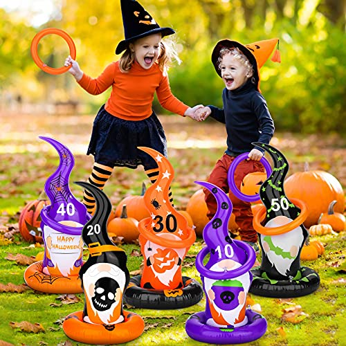 Fovths 5 Pack Halloween Gnome Ring Toss Game Inflatable Witch Hat with Bats Ghost Pumpkins Skulls Spiders Webs Family Indoor Outdoor Party Supplies