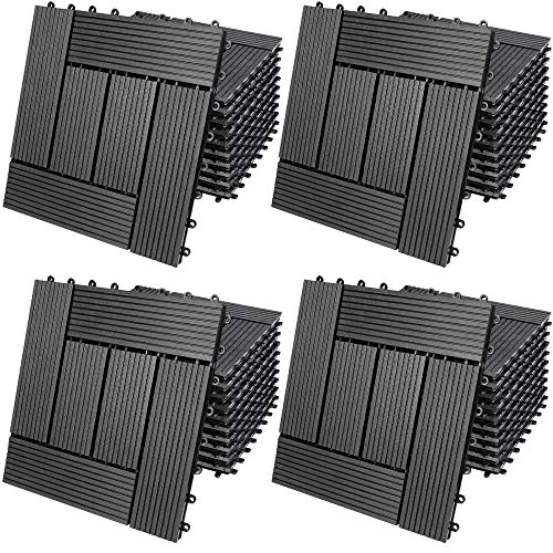 Deuba Set de 44 baldosas losas de WPC Antracita Modelo 'Mosaico' para jardín terraza Exterior Sistema de Encaje 30x30cm