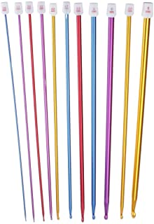 Zuoyou Crochet Hooks 11 Pack Diverse Size Assorted Color Tunisian Afghan Aluminum Knitting Needles Set (2mm to 8mm)